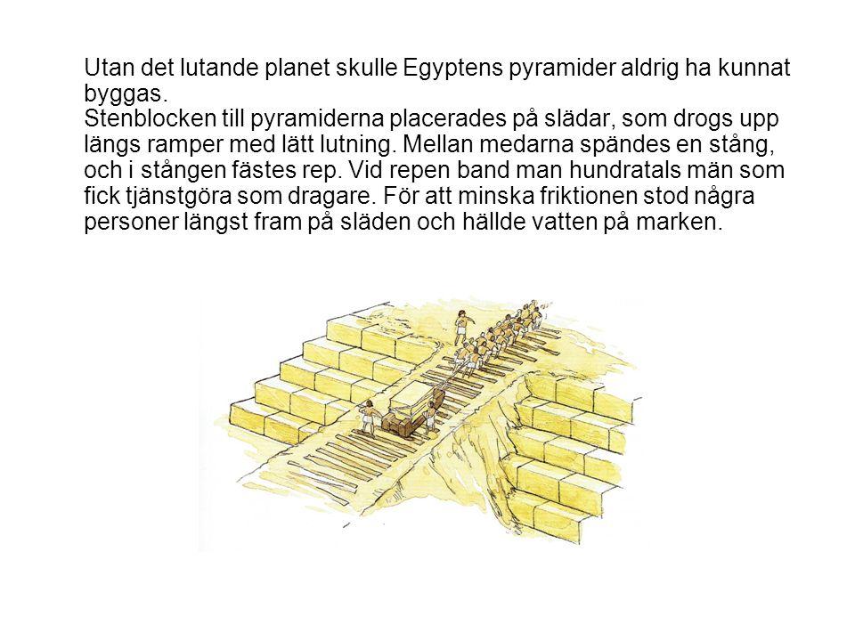 Utan det lutande planet skulle Egyptens pyramider aldrig ha kunnat byggas. Stenblocken till pyramiderna placerades på slädar, som drogs upp längs ramp