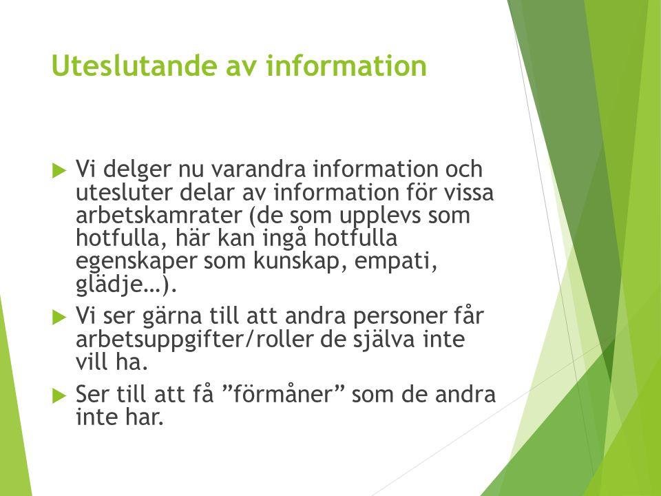 Uteslutande av information  Vi delger nu varandra information och utesluter delar av information för vissa arbetskamrater (de som upplevs som hotfull
