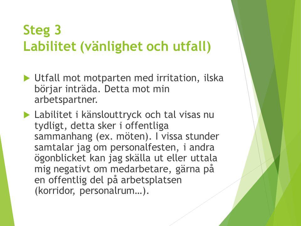 Steg 3 Labilitet (vänlighet och utfall)  Utfall mot motparten med irritation, ilska börjar inträda. Detta mot min arbetspartner.  Labilitet i känslo