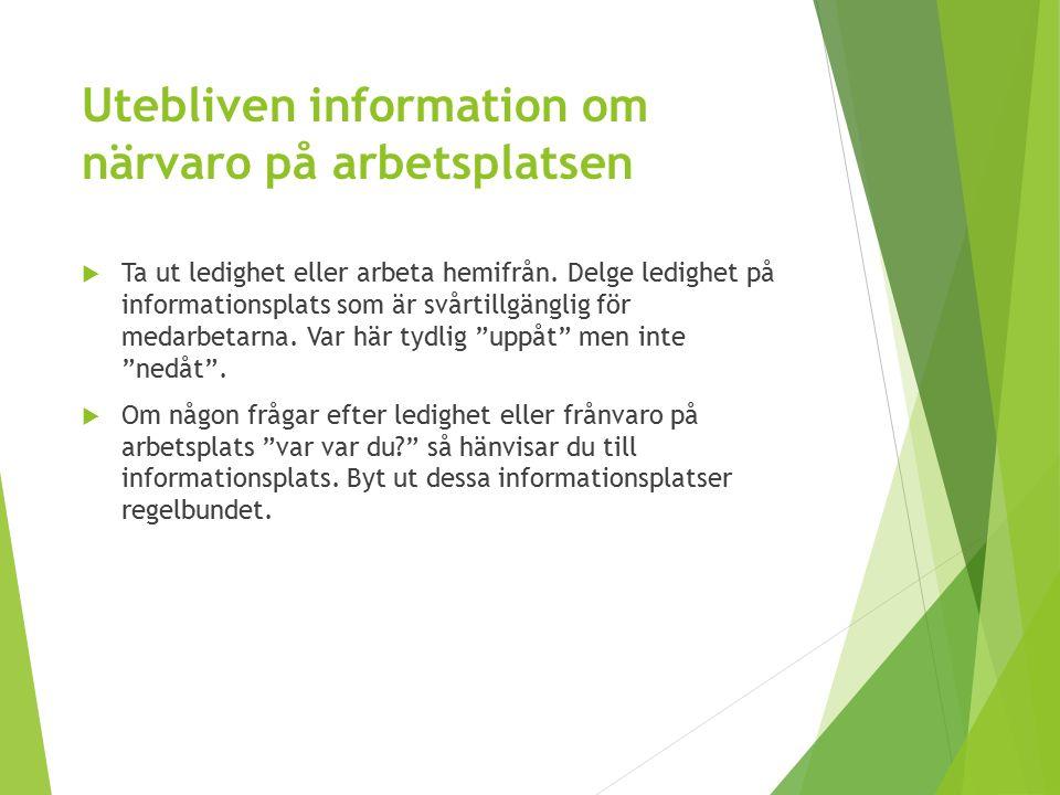Utebliven information om närvaro på arbetsplatsen  Ta ut ledighet eller arbeta hemifrån. Delge ledighet på informationsplats som är svårtillgänglig f