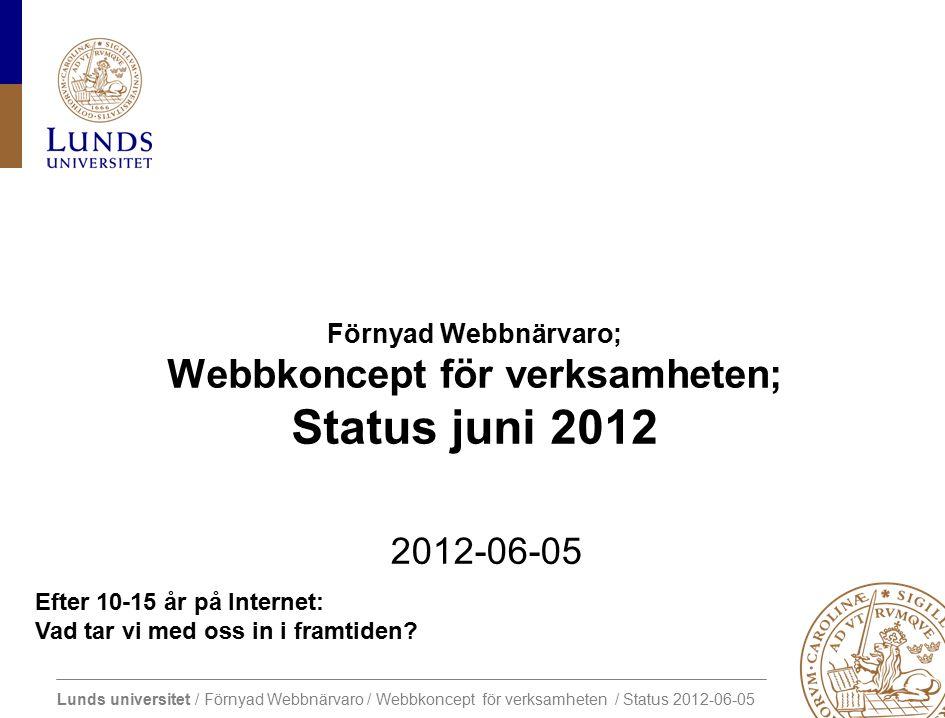 Lunds universitet / Förnyad Webbnärvaro / Webbkoncept för verksamheten / Status 2012-06-05 Efter 10-15 år på Internet: Vad tar vi med oss in i framtiden.