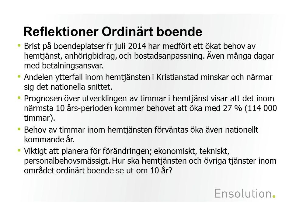 Reflektioner Ordinärt boende Brist på boendeplatser fr juli 2014 har medfört ett ökat behov av hemtjänst, anhörigbidrag, och bostadsanpassning. Även m