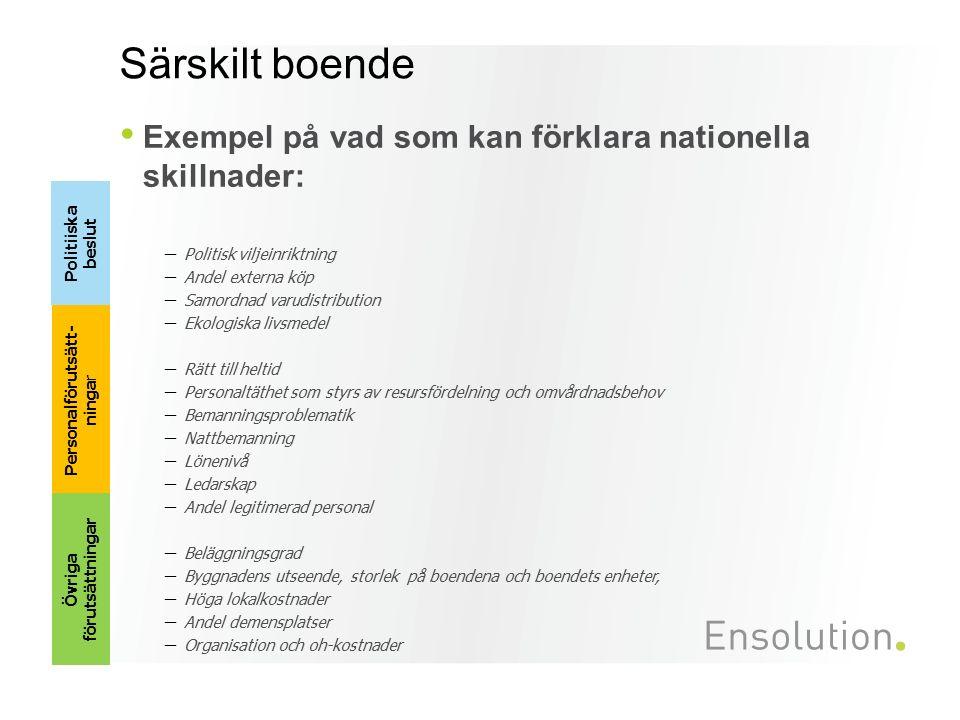 Särskilt boende Exempel på vad som kan förklara nationella skillnader: – Politisk viljeinriktning – Andel externa köp – Samordnad varudistribution – E