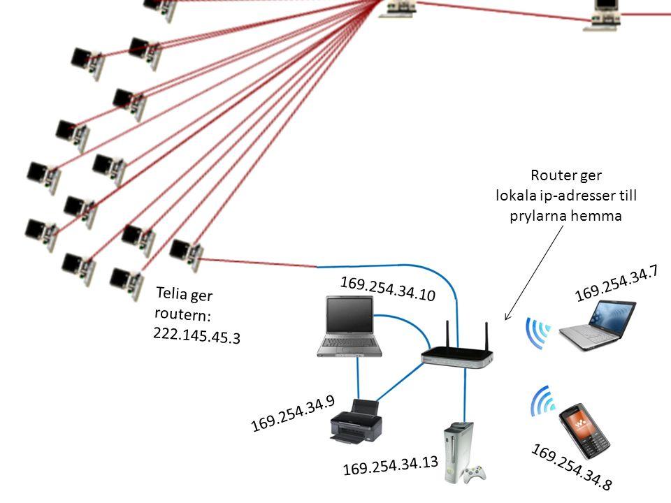 169.254.34.7 169.254.34.8 169.254.34.13 Telia ger routern: 222.145.45.3 Router ger lokala ip-adresser till prylarna hemma 169.254.34.9 169.254.34.10