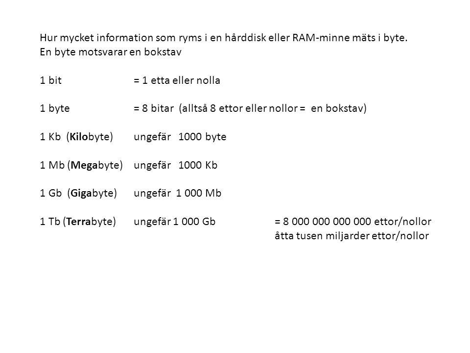 Hur mycket information som ryms i en hårddisk eller RAM-minne mäts i byte. En byte motsvarar en bokstav 1 bit= 1 etta eller nolla 1 byte = 8 bitar (al