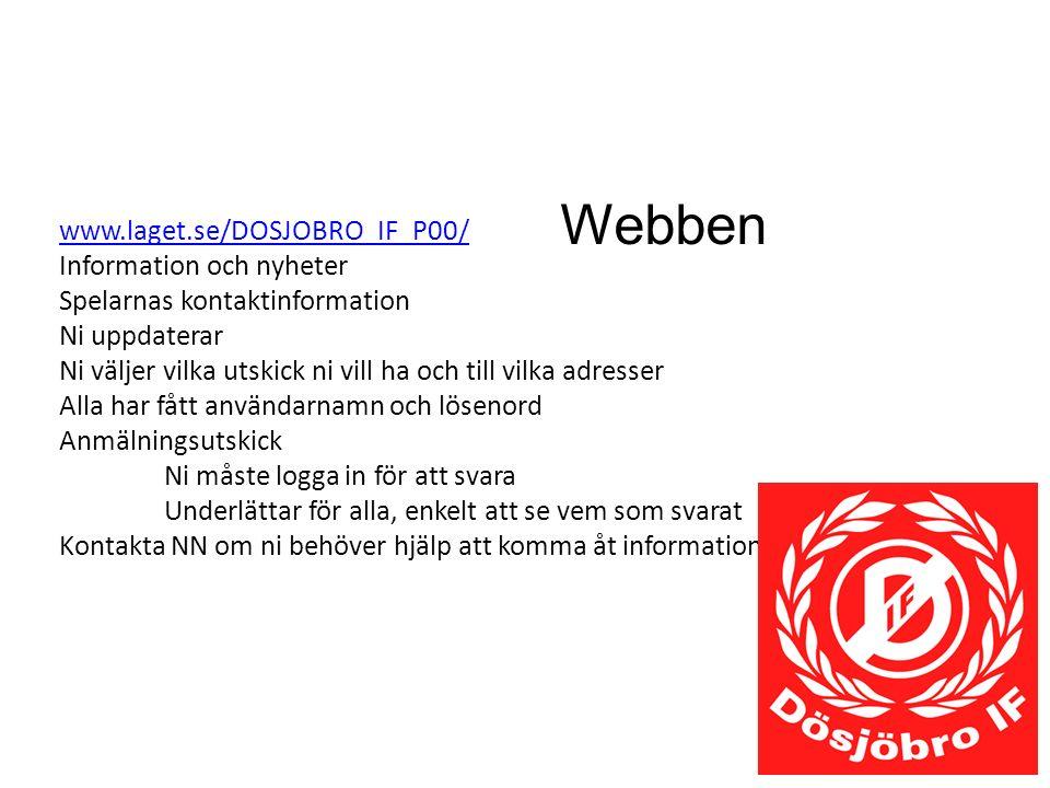 Webben www.laget.se/DOSJOBRO_IF_P00/ Information och nyheter Spelarnas kontaktinformation Ni uppdaterar Ni väljer vilka utskick ni vill ha och till vi