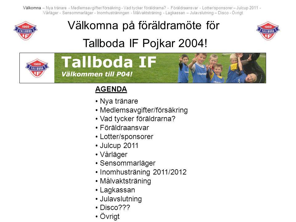 Välkomna – Nya tränare - Medlemsavgifter/försäkring - Vad tycker föräldrarna? - Föräldraansvar - Lotter/sponsorer – Julcup 2011 - Vårläger - Sensommar