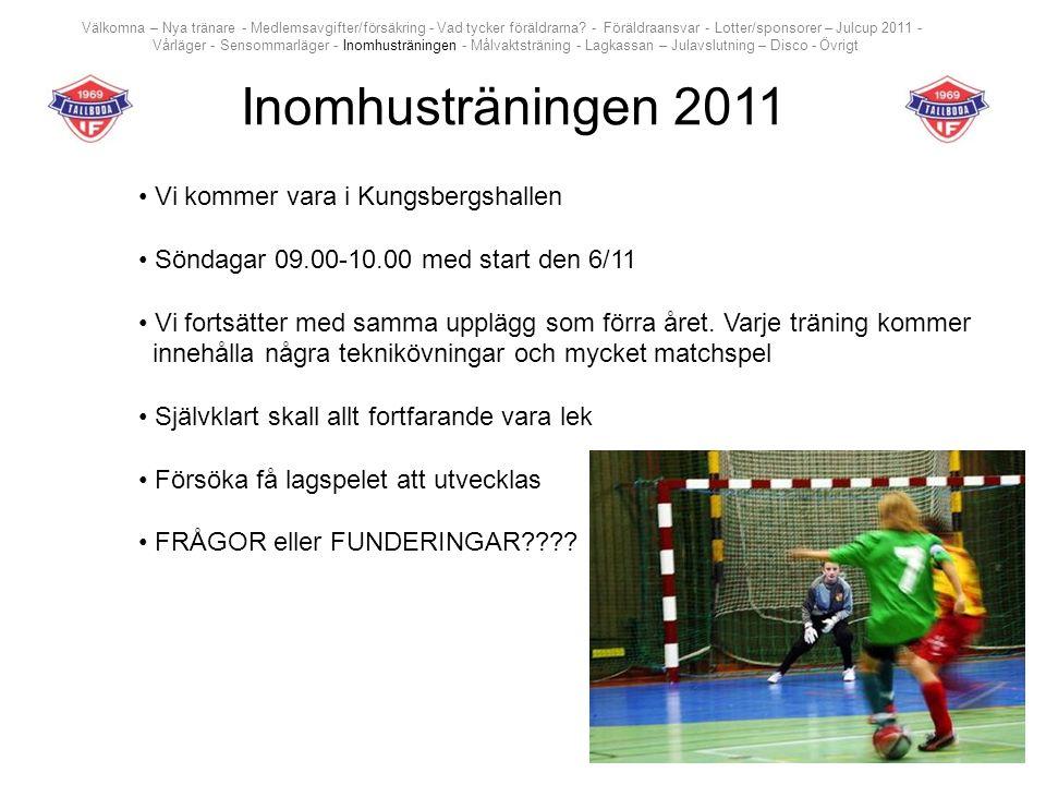 Inomhusträningen 2011 Vi kommer vara i Kungsbergshallen Söndagar 09.00-10.00 med start den 6/11 Vi fortsätter med samma upplägg som förra året. Varje