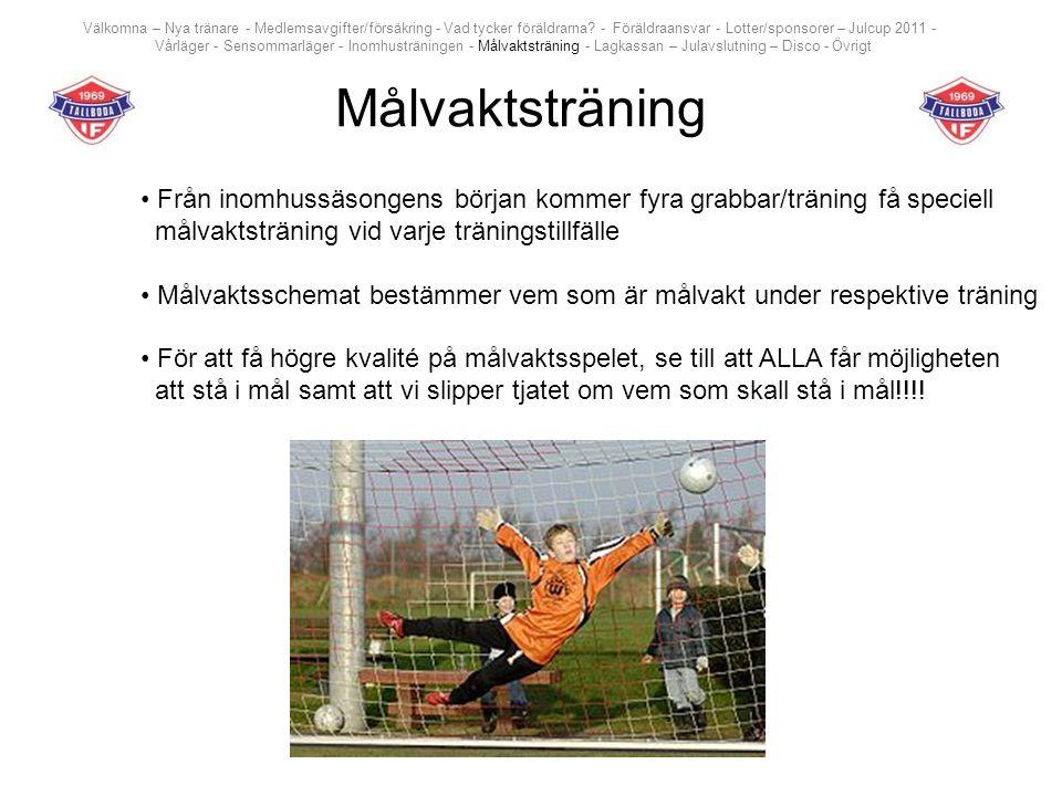 Målvaktsträning Från inomhussäsongens början kommer fyra grabbar/träning få speciell målvaktsträning vid varje träningstillfälle Målvaktsschemat bestä