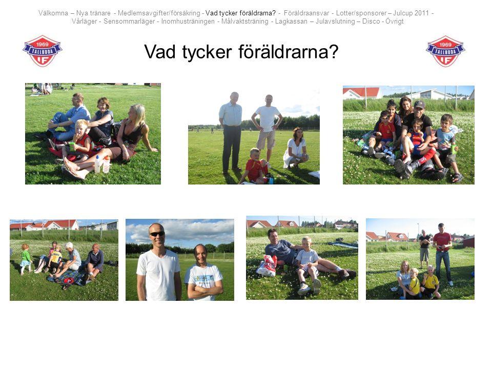Vad tycker föräldrarna? Välkomna – Nya tränare - Medlemsavgifter/försäkring - Vad tycker föräldrarna? - Föräldraansvar - Lotter/sponsorer – Julcup 201