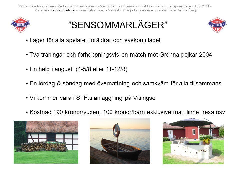 """""""SENSOMMARLÄGER"""" Läger för alla spelare, föräldrar och syskon i laget Två träningar och förhoppningsvis en match mot Grenna pojkar 2004 En helg i augu"""