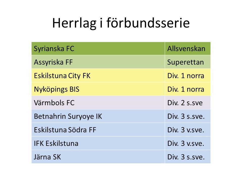 Herrlag i förbundsserie Syrianska FCAllsvenskan Assyriska FFSuperettan Eskilstuna City FKDiv. 1 norra Nyköpings BISDiv. 1 norra Värmbols FCDiv. 2 s.sv