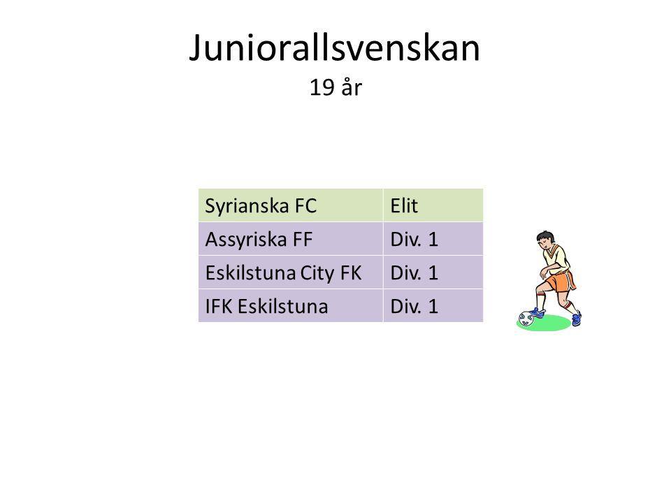 Juniorallsvenskan 19 år Syrianska FCElit Assyriska FFDiv. 1 Eskilstuna City FKDiv. 1 IFK EskilstunaDiv. 1