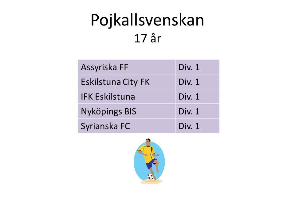 Pojkallsvenskan 17 år Assyriska FFDiv. 1 Eskilstuna City FKDiv. 1 IFK EskilstunaDiv. 1 Nyköpings BISDiv. 1 Syrianska FCDiv. 1