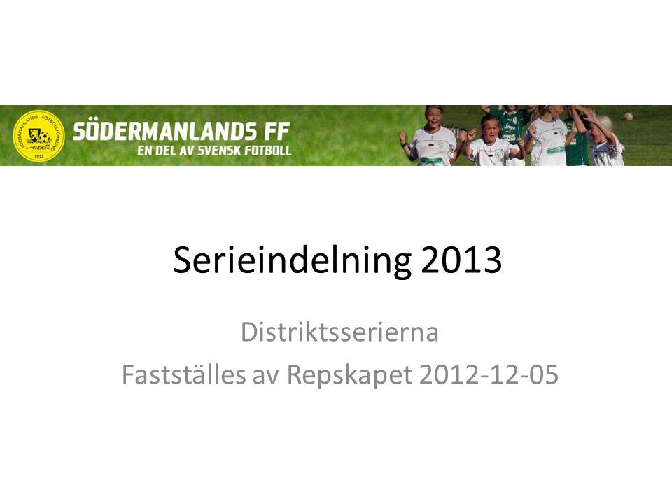 Serieindelning 2013 Distriktsserierna Fastställes av Repskapet 2012-12-05