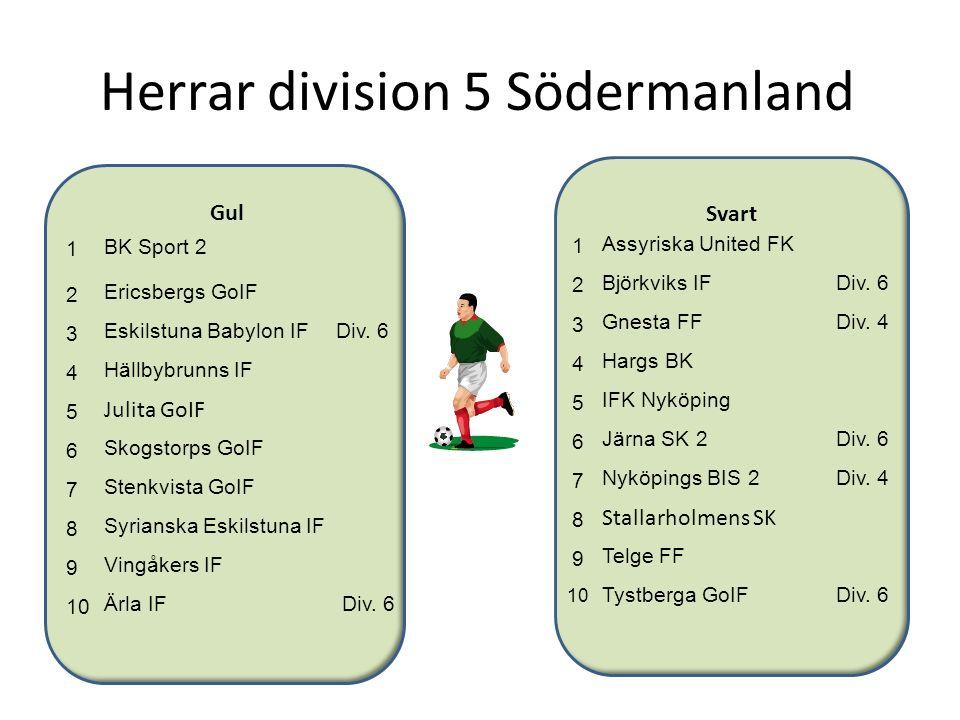 Herrar division 5 Södermanland Svart Gul 1 BK Sport 2 2 Ericsbergs GoIF 3 Eskilstuna Babylon IFDiv. 6 4 Hällbybrunns IF 5 Julita GoIF 6 Skogstorps GoI
