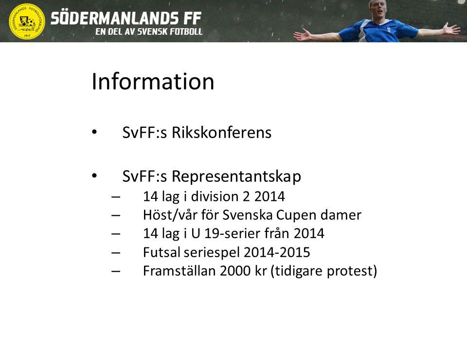 Information SvFF:s Rikskonferens SvFF:s Representantskap – 14 lag i division 2 2014 – Höst/vår för Svenska Cupen damer – 14 lag i U 19-serier från 2014 – Futsal seriespel 2014-2015 – Framställan 2000 kr (tidigare protest)