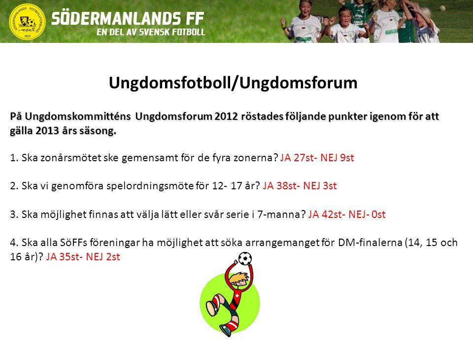 Ungdomsfotboll/Ungdomsforum På Ungdomskommitténs Ungdomsforum 2012 röstades följande punkter igenom för att gälla 2013 års säsong.