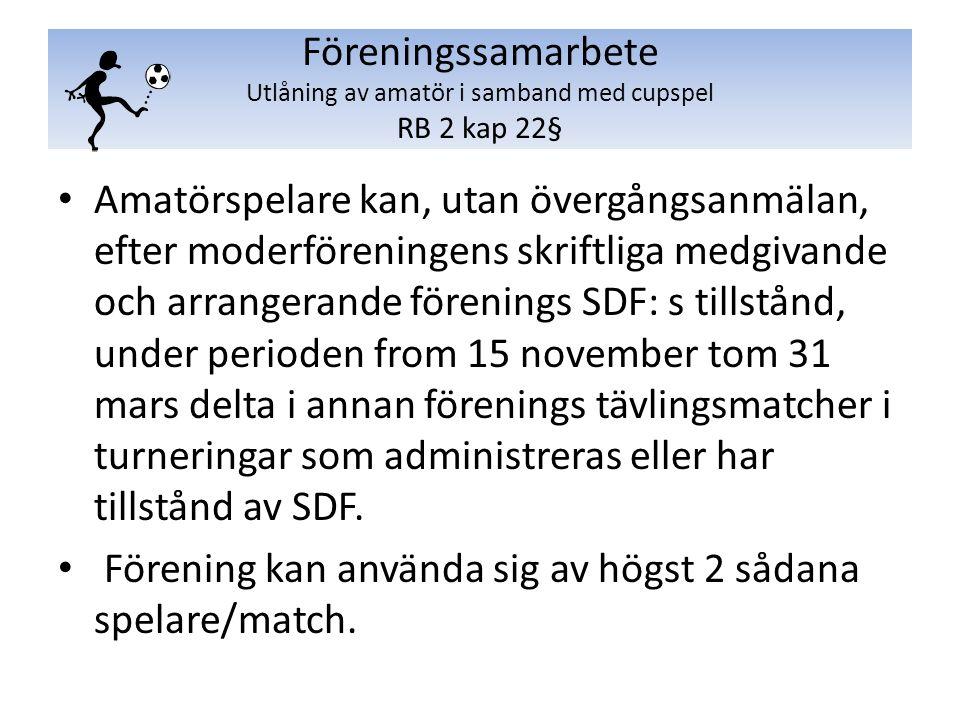 Amatörspelare kan, utan övergångsanmälan, efter moderföreningens skriftliga medgivande och arrangerande förenings SDF: s tillstånd, under perioden from 15 november tom 31 mars delta i annan förenings tävlingsmatcher i turneringar som administreras eller har tillstånd av SDF.