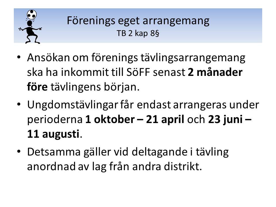 Ansökan om förenings tävlingsarrangemang ska ha inkommit till SöFF senast 2 månader före tävlingens början. Ungdomstävlingar får endast arrangeras und