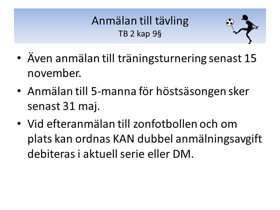Även anmälan till träningsturnering senast 15 november. Anmälan till 5-manna för höstsäsongen sker senast 31 maj. Vid efteranmälan till zonfotbollen o