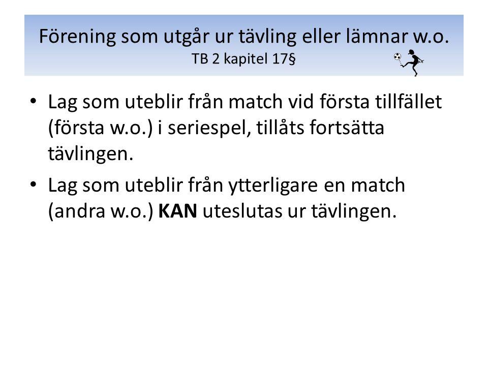 Lag som uteblir från match vid första tillfället (första w.o.) i seriespel, tillåts fortsätta tävlingen. Lag som uteblir från ytterligare en match (an