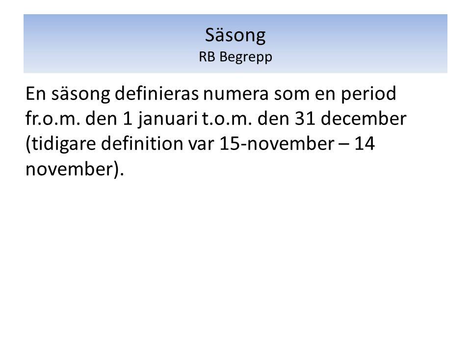 En säsong definieras numera som en period fr.o.m. den 1 januari t.o.m. den 31 december (tidigare definition var 15-november – 14 november). Säsong RB