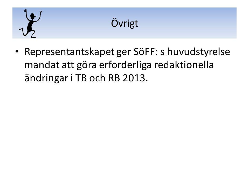 Representantskapet ger SöFF: s huvudstyrelse mandat att göra erforderliga redaktionella ändringar i TB och RB 2013. Övrigt