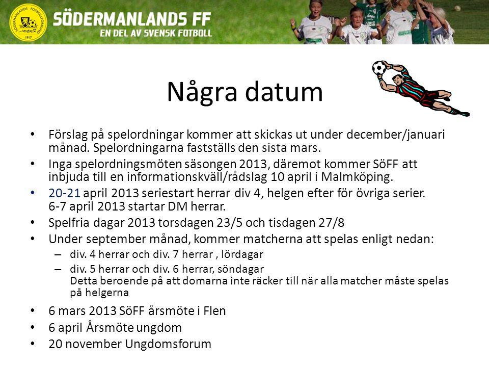 Några datum Förslag på spelordningar kommer att skickas ut under december/januari månad.