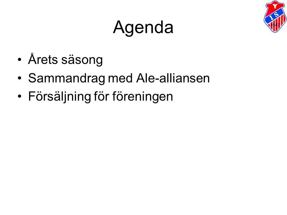 Agenda Årets säsong Sammandrag med Ale-alliansen Försäljning för föreningen
