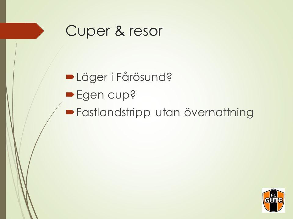 Cuper & resor  Läger i Fårösund?  Egen cup?  Fastlandstripp utan övernattning