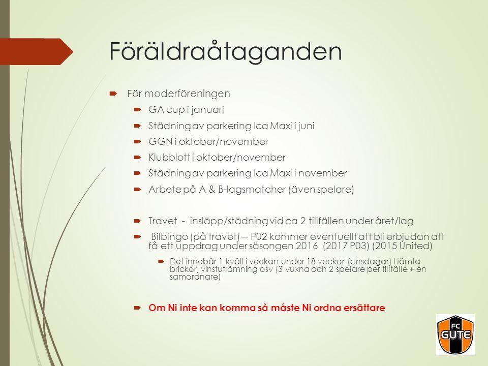 Föräldraåtaganden  För moderföreningen  GA cup i januari  Städning av parkering Ica Maxi i juni  GGN i oktober/november  Klubblott i oktober/nove