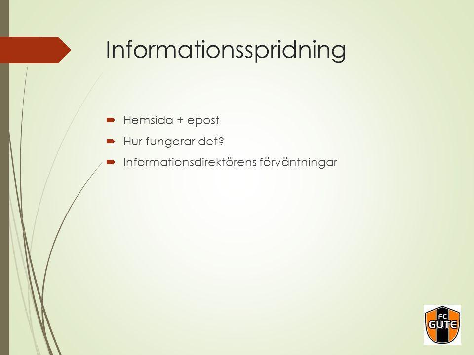 Informationsspridning  Hemsida + epost  Hur fungerar det?  Informationsdirektörens förväntningar