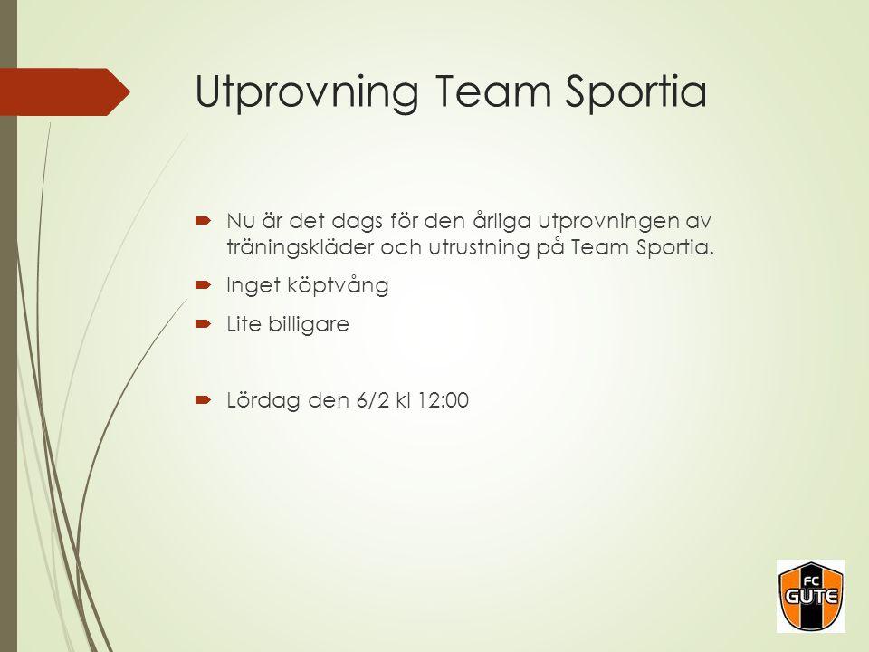 Utprovning Team Sportia  Nu är det dags för den årliga utprovningen av träningskläder och utrustning på Team Sportia.  Inget köptvång  Lite billiga
