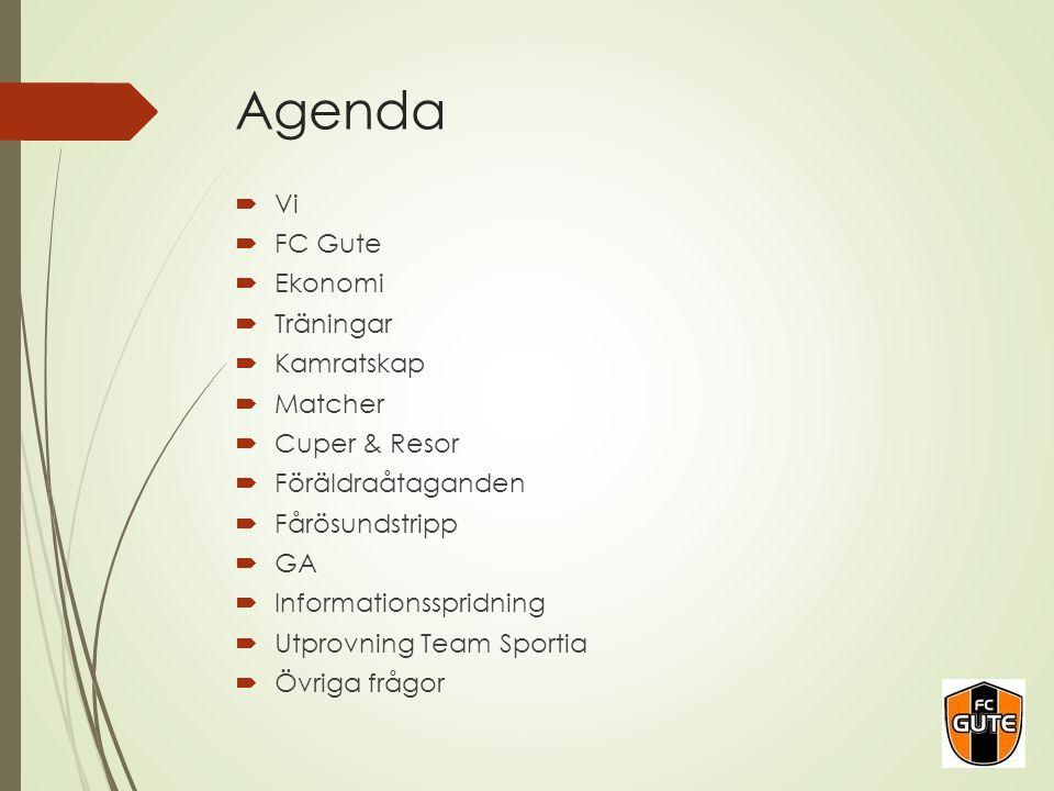 Agenda  Vi  FC Gute  Ekonomi  Träningar  Kamratskap  Matcher  Cuper & Resor  Föräldraåtaganden  Fårösundstripp  GA  Informationsspridning 