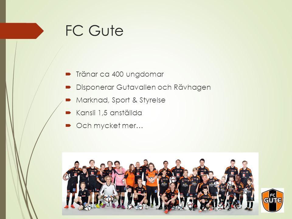 FC Gute  Tränar ca 400 ungdomar  Disponerar Gutavallen och Rävhagen  Marknad, Sport & Styrelse  Kansli 1,5 anställda  Och mycket mer…