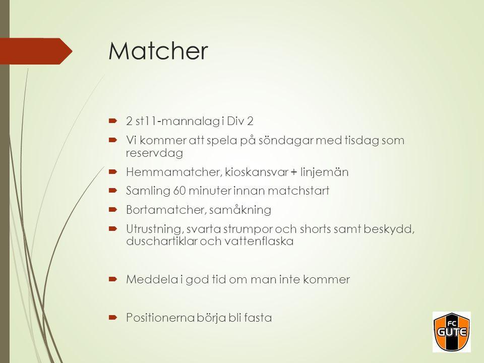 Matcher  2 st11-mannalag i Div 2  Vi kommer att spela på söndagar med tisdag som reservdag  Hemmamatcher, kioskansvar + linjemän  Samling 60 minut