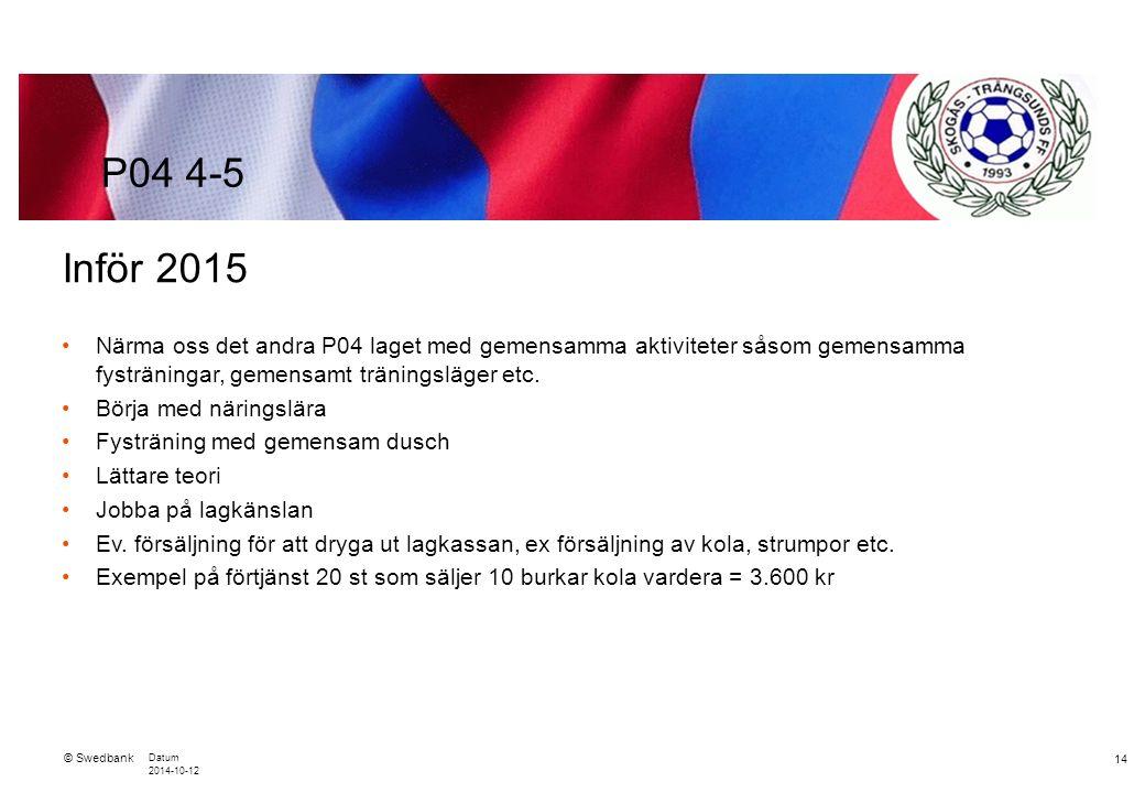 © Swedbank Datum 2014-10-12 14 Inför 2015 Närma oss det andra P04 laget med gemensamma aktiviteter såsom gemensamma fysträningar, gemensamt träningsläger etc.