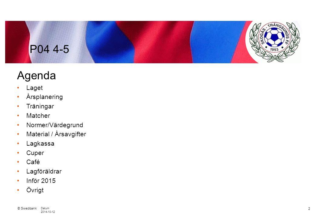 © Swedbank Datum 2014-10-12 3 Laget 23 spelare 2 st nya som är på provträning Mycket hög träningsnärvaro på ca 85-90 % 4 st ledare: – Tränare: Petter Zerne, Niclas Sundberg och Erika Gohde – Lagledare: Eva Ekman P04 4-5