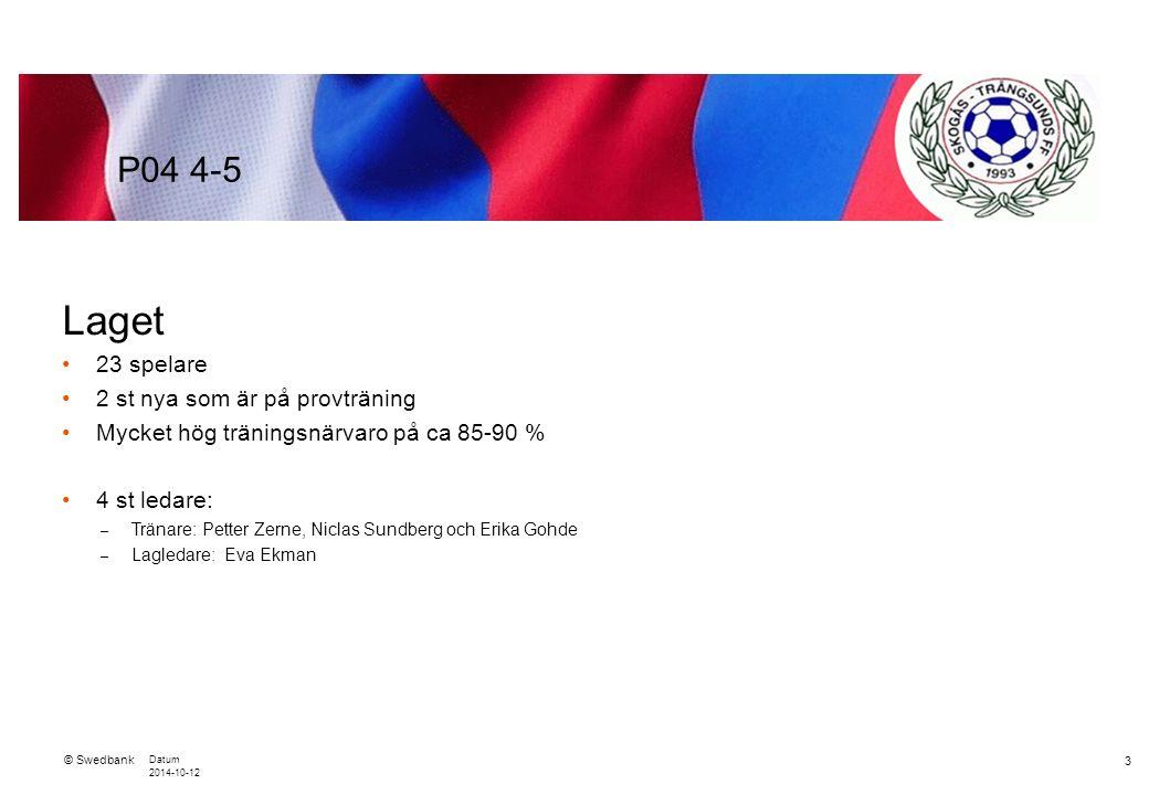 © Swedbank Datum 2014-10-12 4 Normer – värdegrund Fair play och vårdat språk både på matcher och träningar.