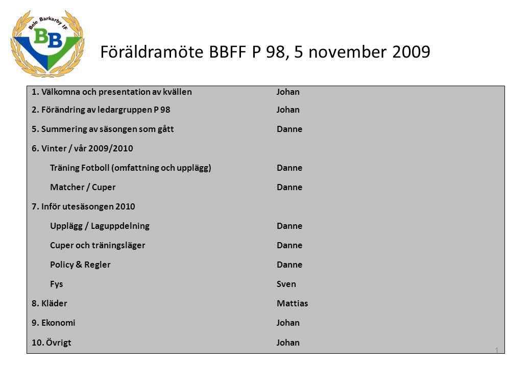 Föräldramöte BBFF P 98, 5 november 2009 1. Välkomna och presentation av kvällen Johan 2. Förändring av ledargruppen P 98Johan 5. Summering av säsongen
