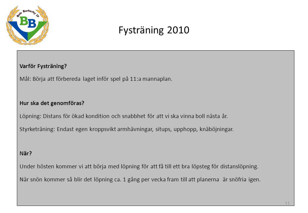 Fysträning 2010 Varför Fysträning? Mål: Börja att förbereda laget inför spel på 11:a mannaplan. Hur ska det genomföras? Löpning: Distans för ökad kond