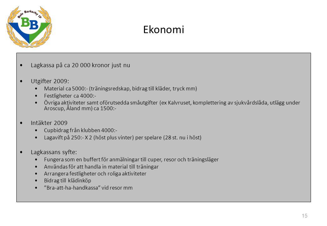 Lagkassa på ca 20 000 kronor just nu Utgifter 2009: Material ca 5000:- (träningsredskap, bidrag till kläder, tryck mm) Festligheter ca 4000:- Övriga aktiviteter samt oförutsedda småutgifter (ex Kalvruset, komplettering av sjukvårdslåda, utlägg under Aroscup, Åland mm) ca 1500:- Intäkter 2009 Cupbidrag från klubben 4000:- Lagavift på 250:- X 2 (höst plus vinter) per spelare (28 st.
