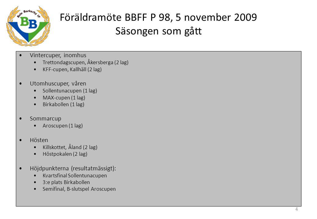 Föräldramöte BBFF P 98, 5 november 2009 Säsongen som gått, forts St Erikscupen 3 lag i serie Lätt 3 lag som sammanlagt spelade: Resultat: 21, 19 och 15 poäng Placering 3, 9 och 10 Truppen 3 killar slutade, 3 började 28 killar för närvarande 5 Matchervunnaoavgj.förl.Gj.