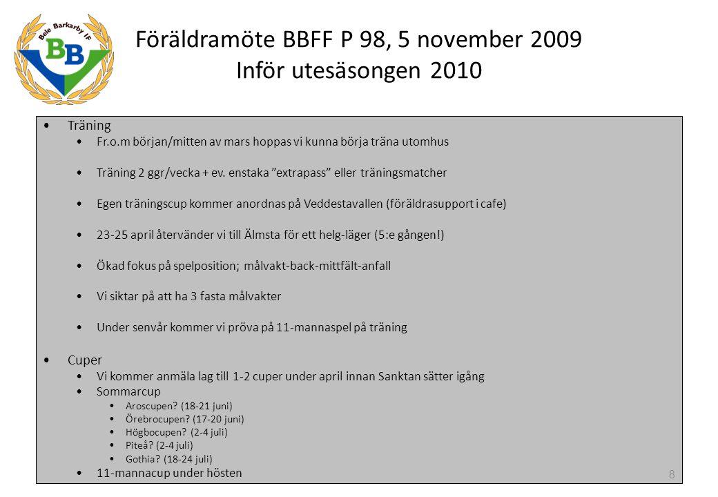 Föräldramöte BBFF P 98, 5 november 2009 Inför utesäsongen 2010, forts St Erikscupen 2010 Sanktan P12 har 3 nivåer; Lätt, Medel och Svår Bele P98 kommer ha 3 lag varav 2 lag i serie Lätt (Blå och Grön) 1 lag i serie Medel (Vit) Alla lagen kommer vara blandade dvs inte skollag Alla killar har hemmatillhörighet i lag Blå eller Grön Till spel i lag Vit tas killar ut från lag Blå och Grön Kriterier för spel i lag Vit: Hög träningsnärvaro Bra attityd på träning och match Kommit lite längre i sin utveckling 9
