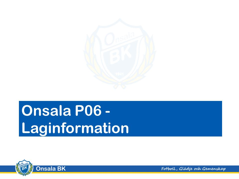 Onsala P06 - Laginformation
