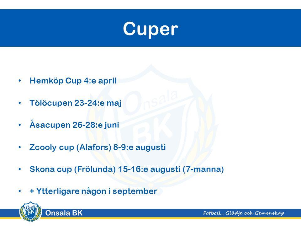 Hemköp Cup 4:e april Tölöcupen 23-24:e maj Åsacupen 26-28:e juni Zcooly cup (Alafors) 8-9:e augusti Skona cup (Frölunda) 15-16:e augusti (7-manna) + Ytterligare någon i september Cuper
