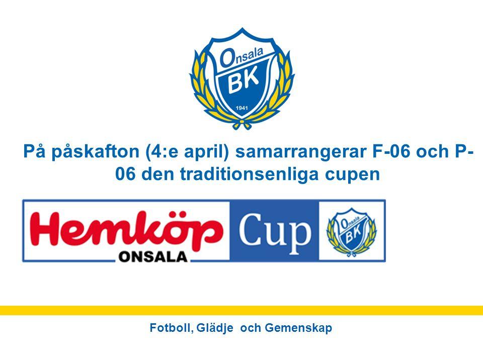 Fotboll, Glädje och Gemenskap På påskafton (4:e april) samarrangerar F-06 och P- 06 den traditionsenliga cupen