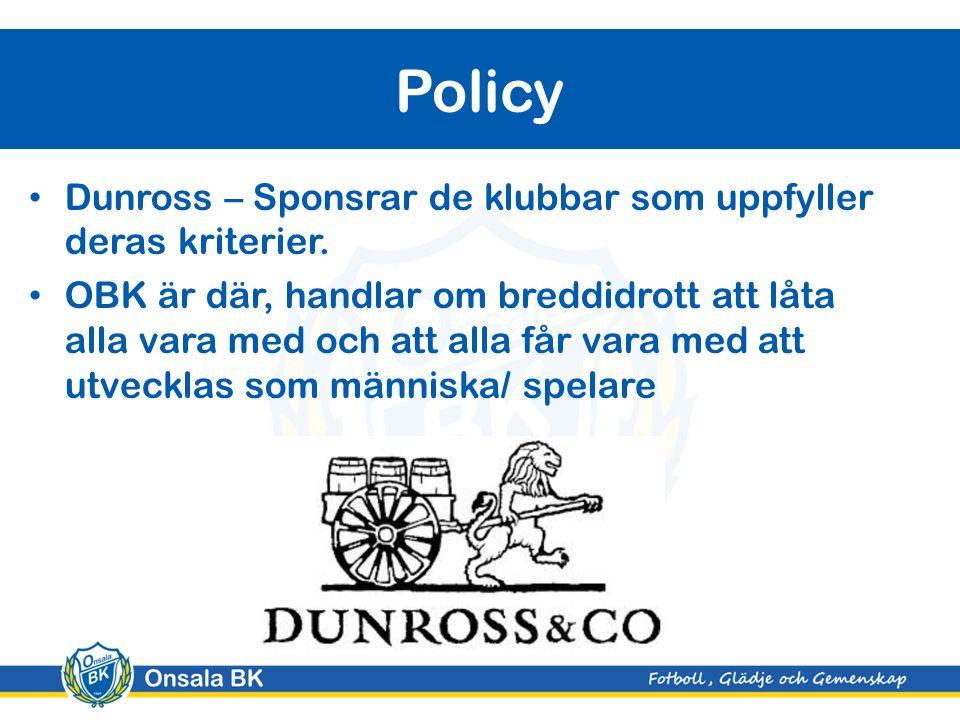 Dunross – Sponsrar de klubbar som uppfyller deras kriterier.