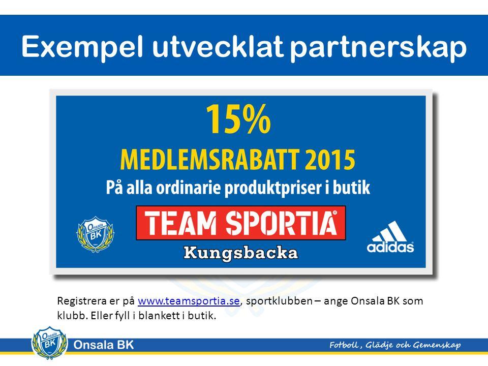 Exempel utvecklat partnerskap Registrera er på www.teamsportia.se, sportklubben – ange Onsala BK som klubb.